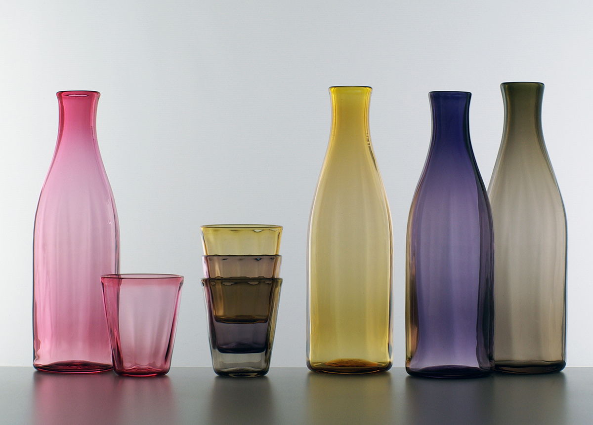 Gem carafe and glasses, Lindean Mill Glass