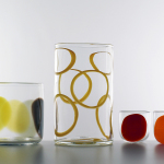 Pebble vase, Hoop cylinder and Spot glasses - Lindean Mill Glass