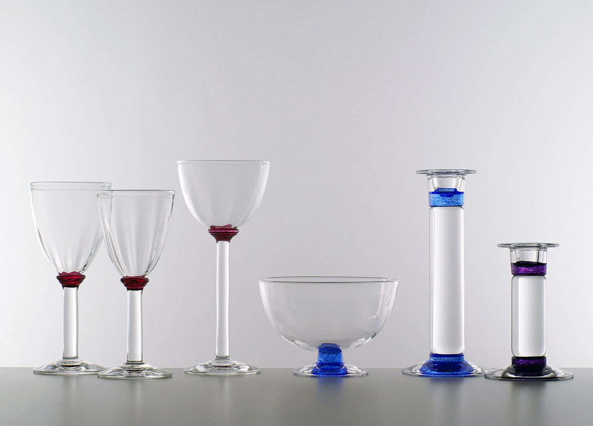 Optic wine and champagne glasses, bowl and candlesticks, Lindean Mill Glass