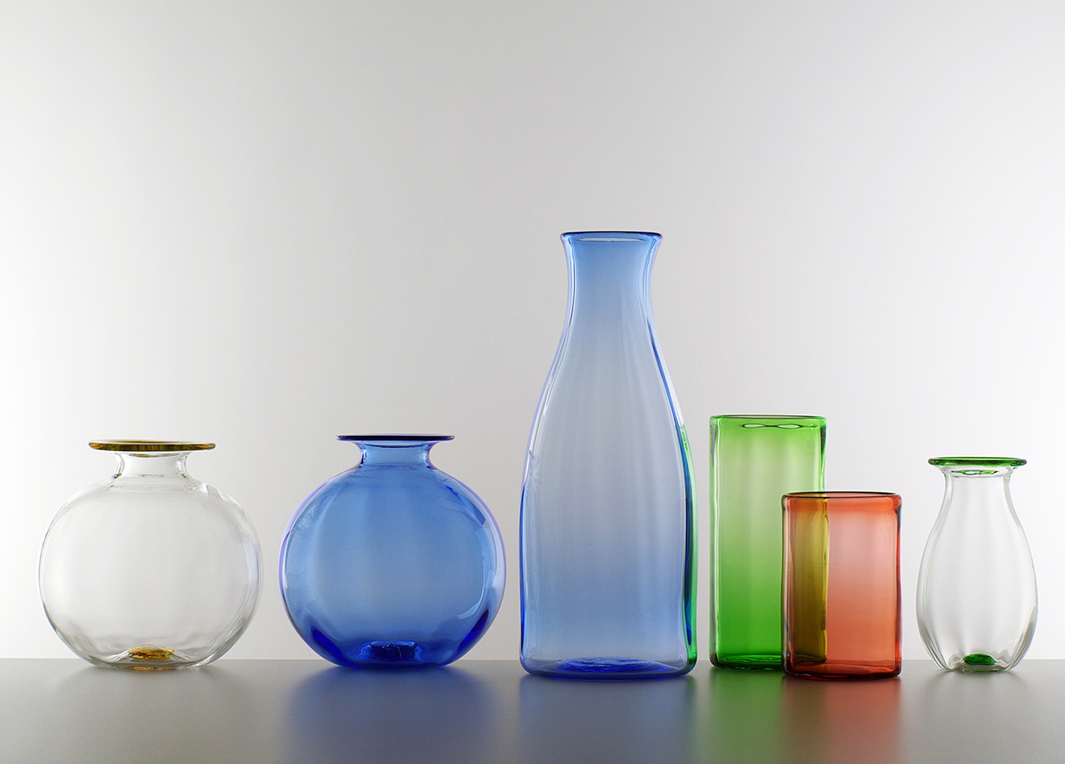 large and small Optic vase, coloured vase, carafe and tumblers, Lindean Mill Glass