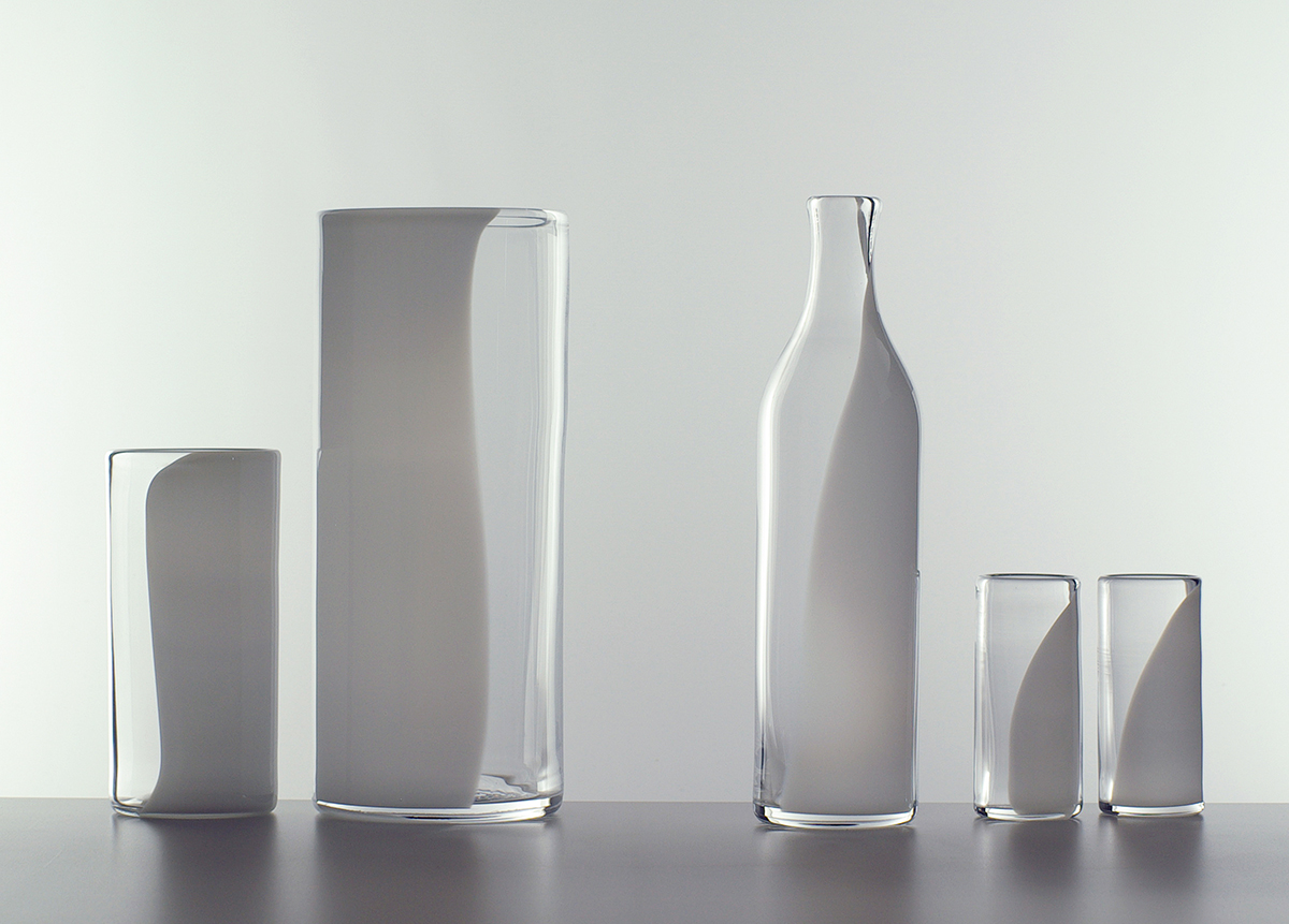 Spirit, Milk, glasses, bottle and vase, Lindean Mill Glass