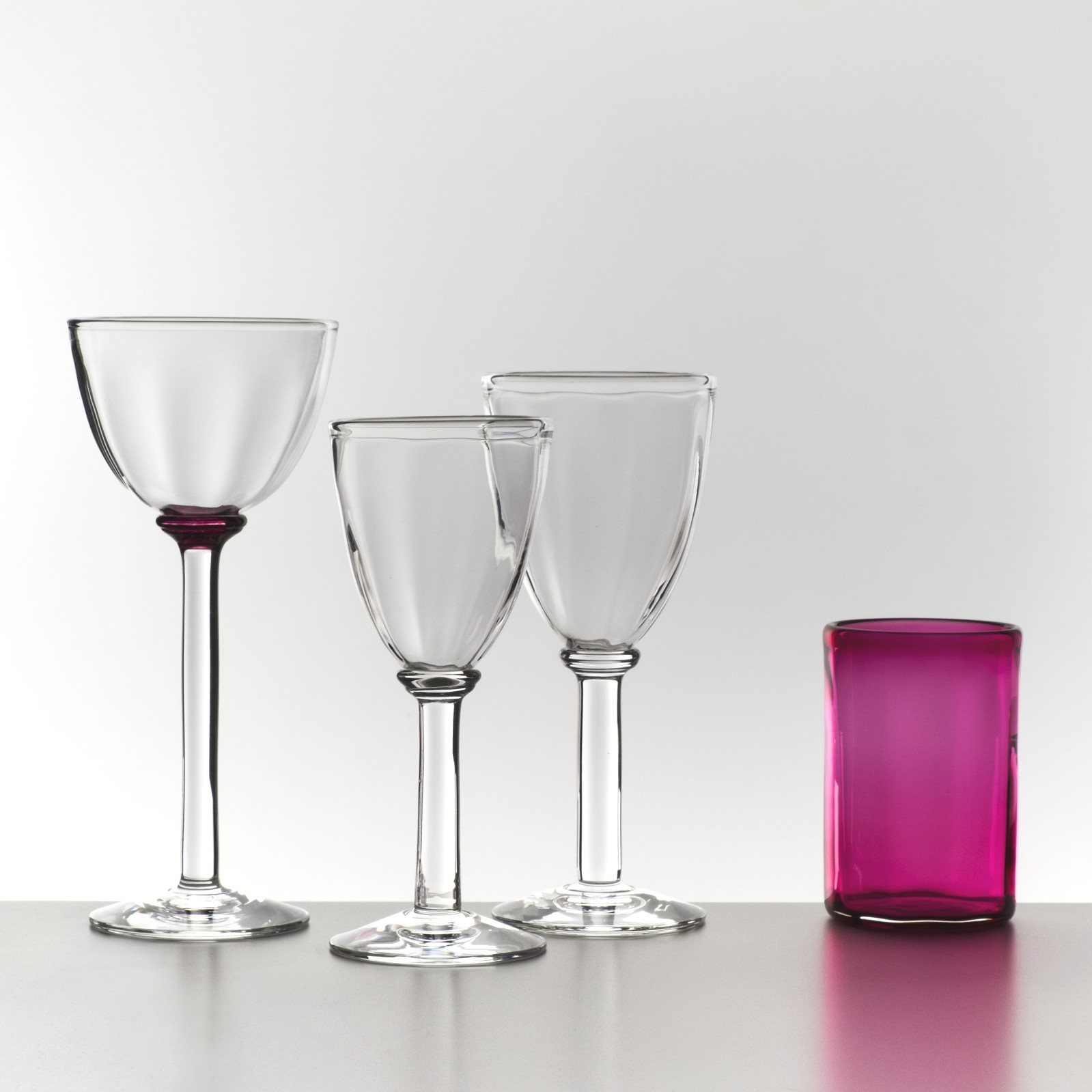 LindeanMillGlass Optic Carafe wine glasses and Colour Tumblers