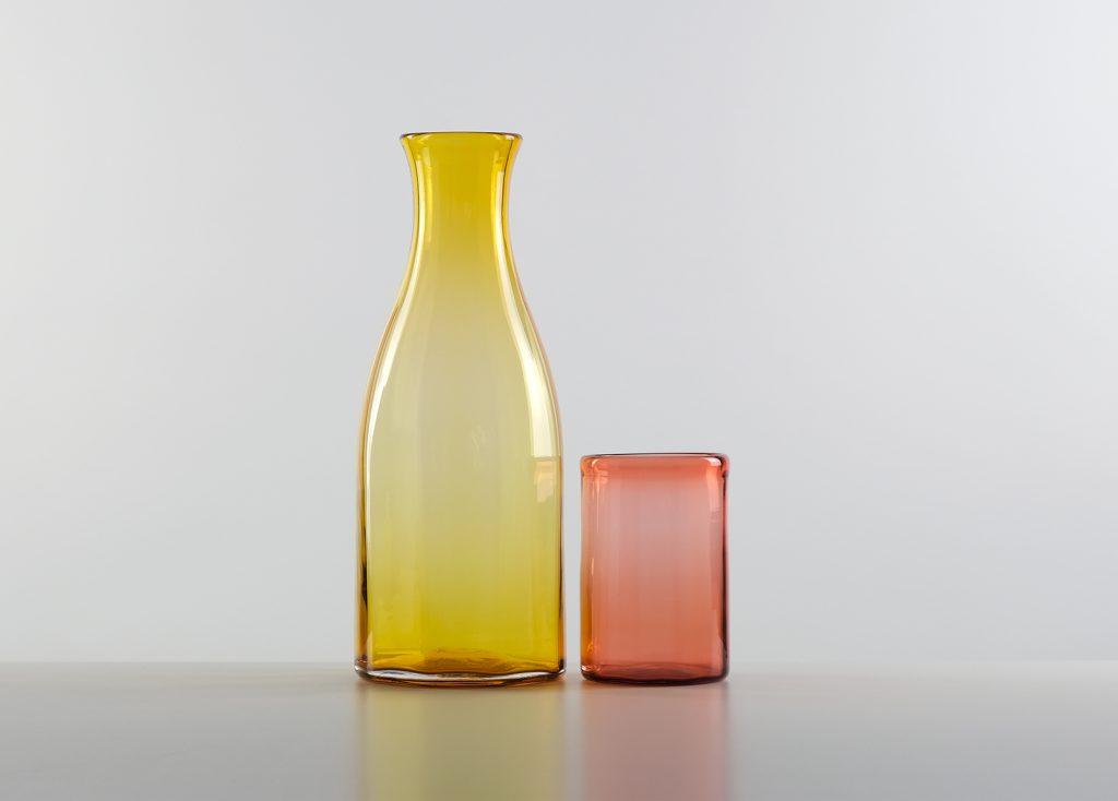 Coloured carafe and tumbler